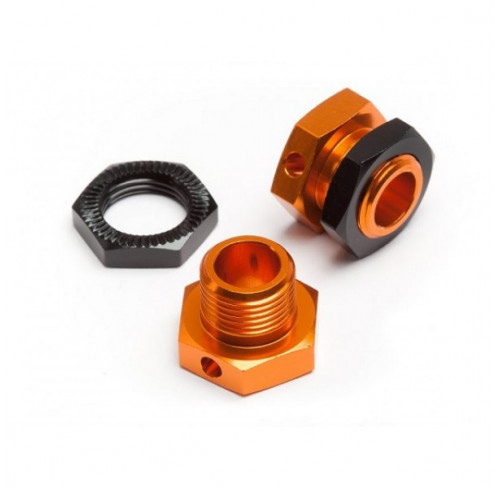 5MM HEX WHEEL ADAPTERS TROPHY BUGGY (ORANGE/BLACK) (2) HPI