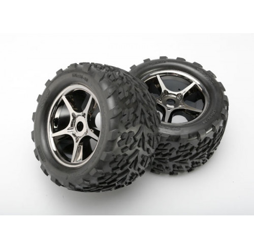 "Pneus Talon 3.8"" On Gemini Black Chrome MAXX/REVO (2) Traxxas"