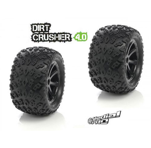 Pneus Dirt Crusher 4.0 Mounted on Cyclon 4.0 Black Wheels (2 ) Medial Pro