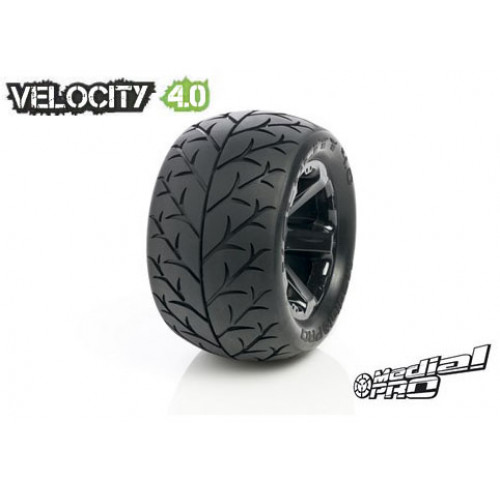 Pneus Velocity 4.0 Mounted on XD Bully 4.0 Black Wheels (2) Medial Pro